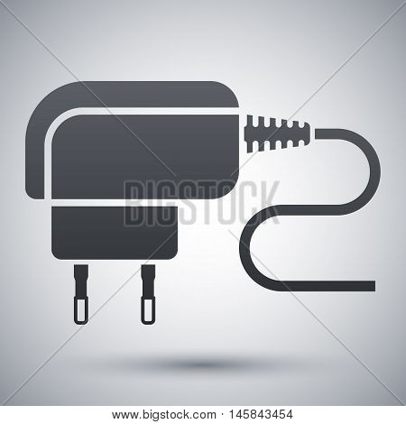 Vector Phone Charger Icon. Simple Icon On A Light Gray Background