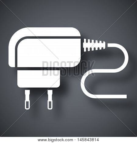 Vector Phone Charger Icon. Simple Icon On A Dark Gray Background