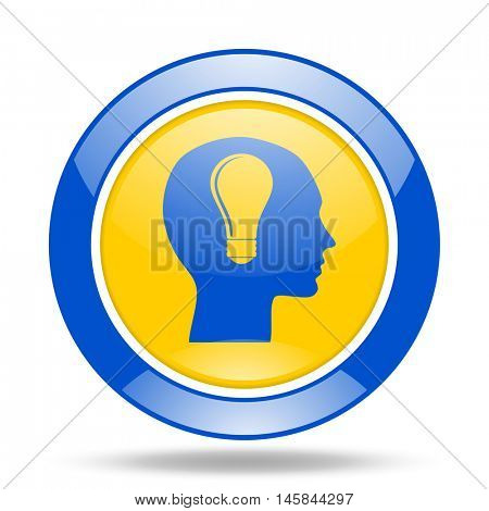 head round glossy blue and yellow web icon