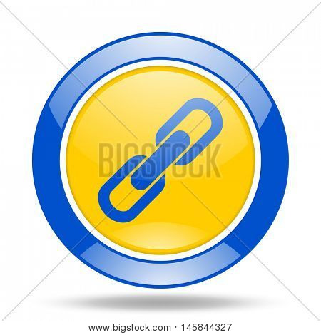 link round glossy blue and yellow web icon