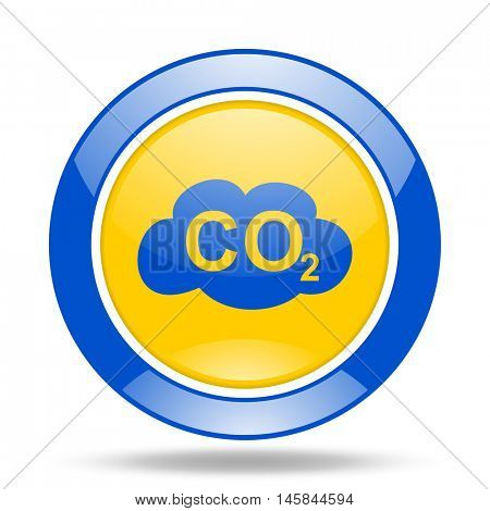 carbon dioxide round glossy blue and yellow web icon