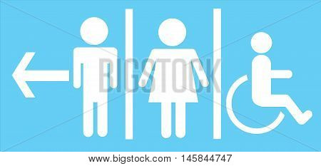 a man and a lady restrooms sign toilet sign on blue background