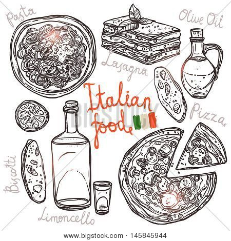 Pizza, Pasta, Lasagna, Olive Oil In Sketch Style. Italian Hand Drawn Food Collection