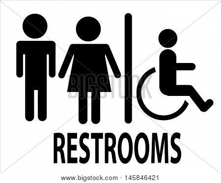 a man and a lady restrooms sign toilet sign on white background