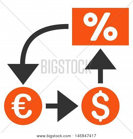 Currency Cashflow icon. Vector style is bicolor flat iconic symbol, orange and gray colors, white background.