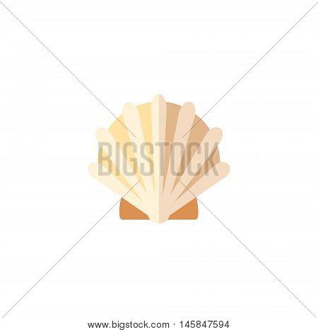 Clam Primitive Style Childish Sticker. Marine Animal Minimalistic Vector Illustration Isolated On White Background.