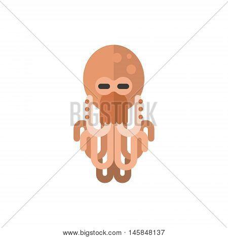 Octopus Primitive Style Childish Sticker. Marine Animal Minimalistic Vector Illustration Isolated On White Background.