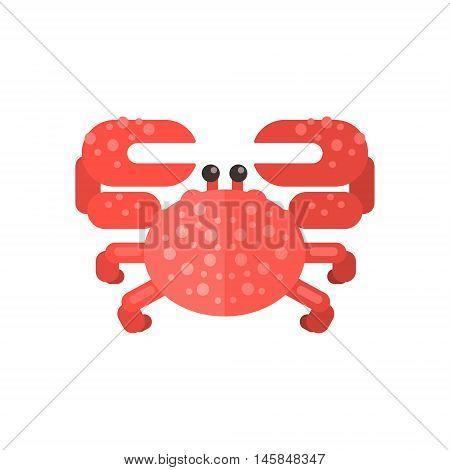 Pink Crab Primitive Style Childish Sticker. Marine Animal Minimalistic Vector Illustration Isolated On White Background.