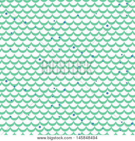 Fish scale green vector seamless pattern. Squama textile fabric print.