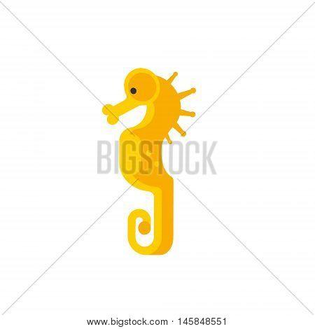 Yellow Seahorse Primitive Style Childish Sticker. Marine Animal Minimalistic Vector Illustration Isolated On White Background.