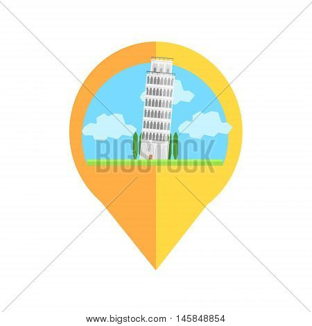On-line Map Marker With Pisa Tower. Smartphone App Classic Destination Tag In Geometric Design Isolated On White Background