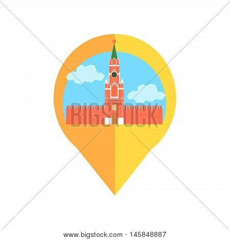 On-line Map Marker With Moscow Kremlin. Smartphone App Classic Destination Tag In Geometric Design Isolated On White Background