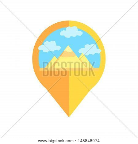 On-line Map Marker With Pyramids Of Egypt. Smartphone App Classic Destination Tag In Geometric Design Isolated On White Background