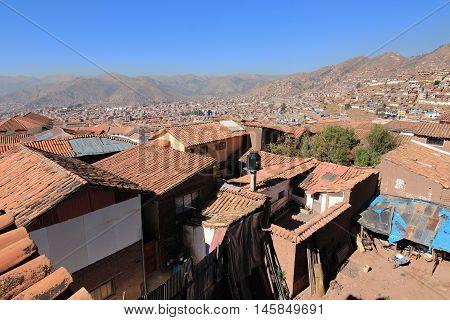 The Peruvian city of Cusco in Peru