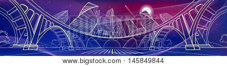 Big bridge, amazing panoramic night city, neon town. Industrial, architecture and infrastructure illustration. Purple and magenta image. energy waves. White lines landscape, vector design art