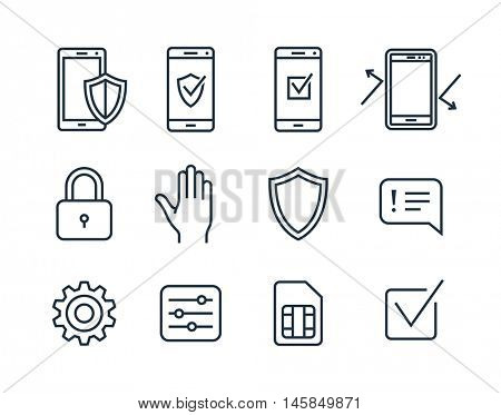 Mobile security icons. Vector icons mobile security app