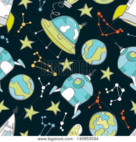 Space print. Rocket, flying saucer, planets and stars. Seamless vector pattern (background).