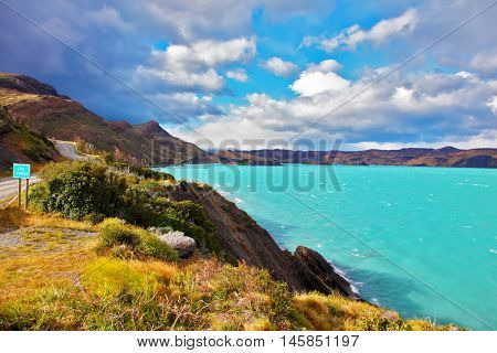 Beautiful Patagonia. Park Torres del Paine in southern Chile. Emerald waters of Lake Pehoe