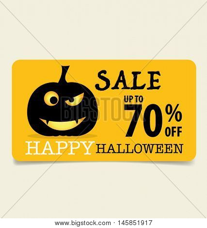 Happy Halloween. Sale Coupon, voucher and tag. Vector illustration.