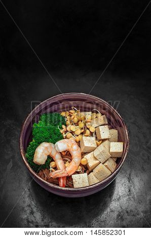 Soba With Tofu, Lentils Sprouts, Shrimp