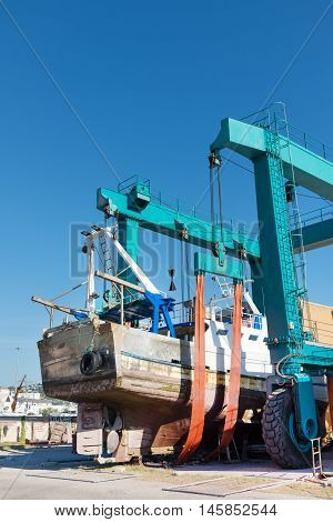 Ship repair in shipyard in port on adriatic sea