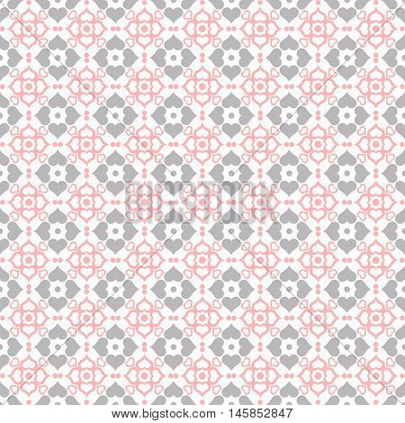 Background of seamless dots and hearts pattern