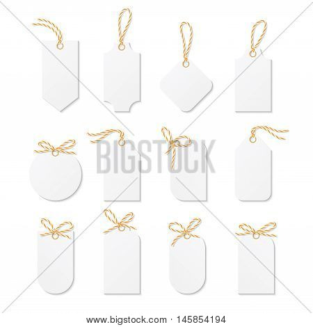 Set of tags and labels tied up with orange bakers twine bows and ribbons