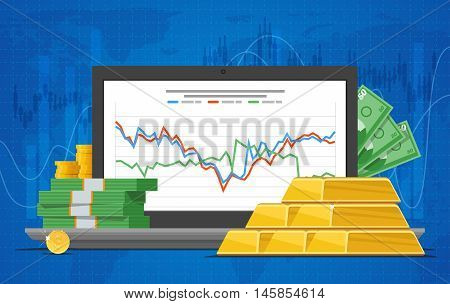 Gold price vector illustration in flat style. Stock chart on laptop screen. Pile of money, gold bars.