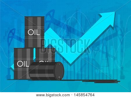 Oil industry concept. Raising prices chart. Financial markets vector illustration.
