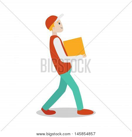 Delivery guy with parcel. Cartoon colorful vector illustration