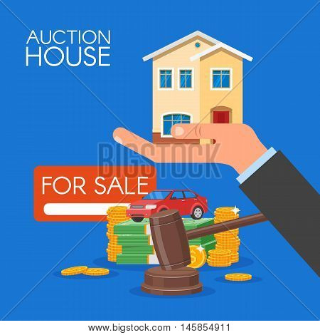 Auction and bidding concept vector illustration in flat style design. Selling house.