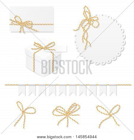 Celebration set of card, box, label, banner and orange bakers twine bows, vector