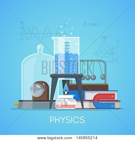 Physics science education concept vector poster in flat style design.