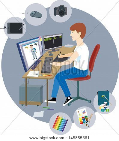 Designer girl sitting at the computer and drawing on a graphic tablet