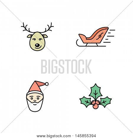 Christmas icon set. Simple outlined icons. Linear style