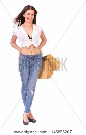 Picture of lovely woman with biodegradable shopping bag. Isolated on white.