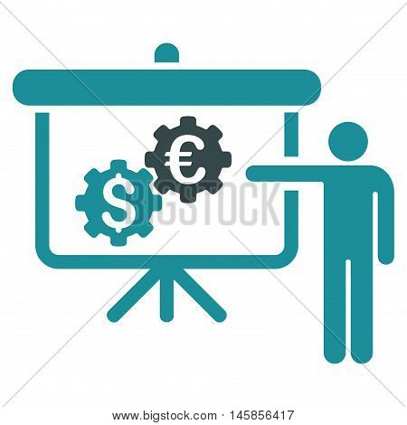 International Industry Presentation icon. Vector style is bicolor flat iconic symbol, soft blue colors, white background.