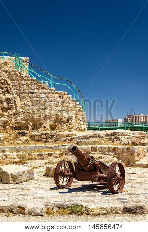 Cannon at Kerak Castle, a large crusader fortress in Jordan