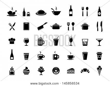 Restaurant, kitchen and cooking icons. Food and drink vector icons