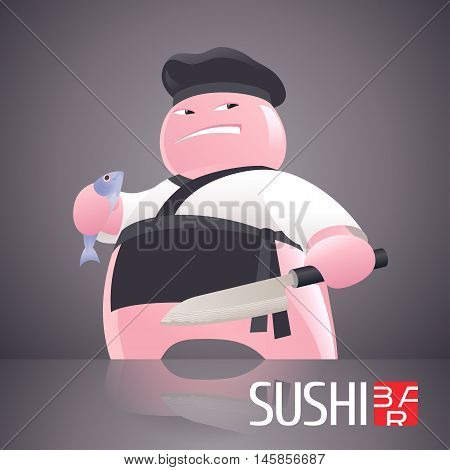 Sushi vector template logo, icon, symbol. Unusual design element, illustration with head-cook figurine for sushi bar, seafood or Japanese restaurant menu