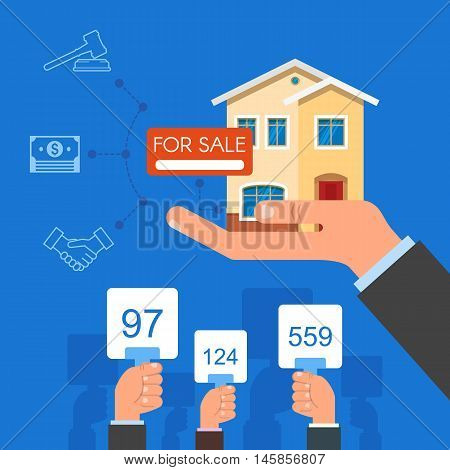 Auction and bidding concept vector illustration in flat style design. Selling house from auction.