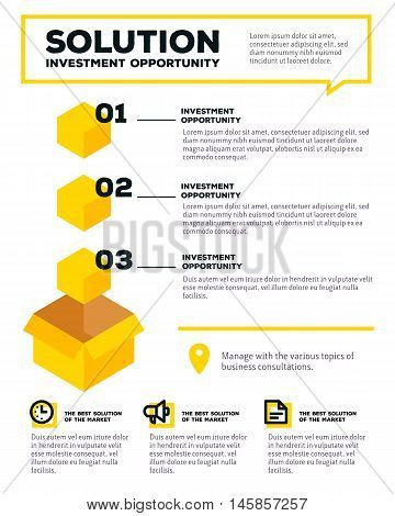 Vector Corporate Business Template Infographic With Yellow Box, Icons, Header, Text On White Backgro