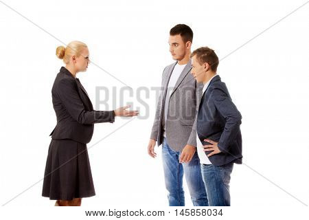 Boss businesswoman screaming at her employees