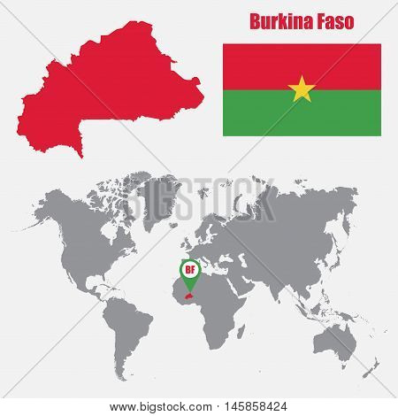 Burkina Faso map on a world map with flag and map pointer. Vector illustration