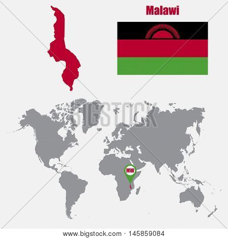 Malawi map on a world map with flag and map pointer. Vector illustration