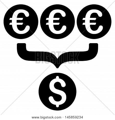 Euro Dollar Conversion Aggregator icon. Vector style is flat iconic symbol, black color, white background.