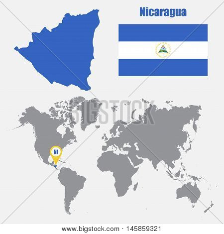 Nicaragua map on a world map with flag and map pointer. Vector illustration