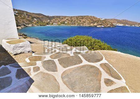cycladic stair at Chrysopigi church and Apokofto beach Sifnos island Greece
