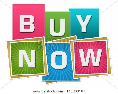 Buy now text written over vibrant colorful background.