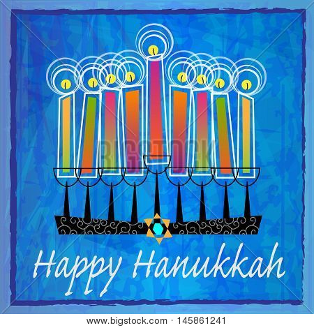 Stylized menorah with colorful candles and Happy Hanukkah text on blue abstract background. Eps10
